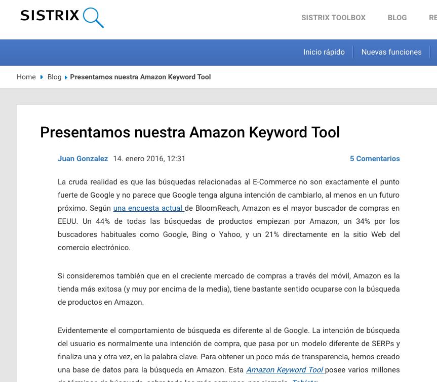Actualización de producto - Sistrix