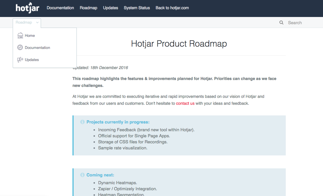 Roadmap de Hotjar